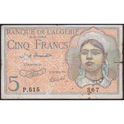 Algérie - Pick 94a - 5 francs - 1944 - Etat : TB-