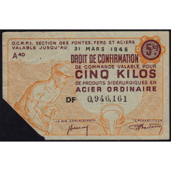 5 kg acier ordinaire - 31-03-1946 - Endossé - Etat : TB+