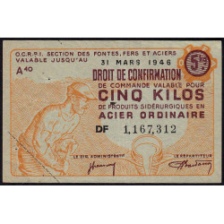 5 kg acier ordinaire - 31-03-1946 - Endossé - Etat : TTB+