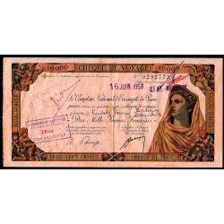 Maroc - Chèque de voyage - 10'000 francs - 16/06/1958 - Marrakech - Etat : TTB+