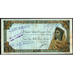 Maroc - Chèque de voyage - 25'000 francs - 1958 - Safi - Etat : TTB