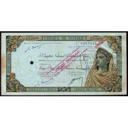 CNEP - Chèque de voyage - 25'000 francs - 1958 - Etat : TTB-