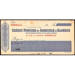 Algérie - Crédit Foncier et Agricole - 1910 - Etat : SUP