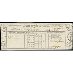 1824 - Bordeaux - Loterie Royale de France - 2 francs - Etat : SUP