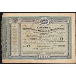 1911 - Paris - Loterie - Groupement d'Oeuvres de Bienfaisance - 20 francs - Etat : TB+
