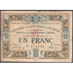 Evreux (Eure) - Pirot 57-1 - 1 franc - 09/12/1915 - Etat : B+
