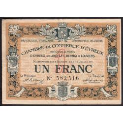 Evreux (Eure) - Pirot 57-09 - 1 franc - 1916 - Etat : TB-