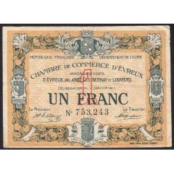 Evreux (Eure) - Pirot 57-11 - 1 franc - 11/01/1917 - Etat : TB+