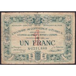 Evreux (Eure) - Pirot 57-17 - 1 franc- Chiffre 1 - 07/06/1920 - Etat : B+