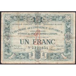 Evreux (Eure) - Pirot 57-19b - 1 franc- Chiffre 2 - 28/10/1920 - Etat : B+