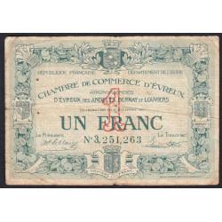 Evreux (Eure) - Pirot 57-23 - 1 franc- Chiffre 3 - 17/11/1921 - Etat : B