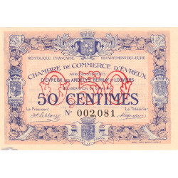 Evreux (Eure) - Pirot 57-2 - 50 centimes - 1916 - Etat : SPL+