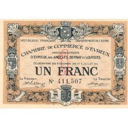 Evreux (Eure) - Pirot 57-09 - 1 franc - 1916 - Etat : SPL+