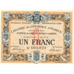 Evreux (Eure) - Pirot 57-11 - 1 franc - 11/01/1917 - Etat : SPL+