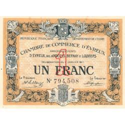 Evreux (Eure) - Pirot 57-11 - 1 franc - 11/01/1917 - Etat : SUP