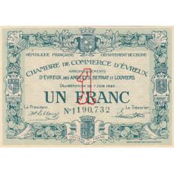 Evreux (Eure) - Pirot 57-17 - 1 franc- Chiffre 1 - 07/06/1920 - Etat : SUP+