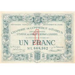 Evreux (Eure) - Pirot 57-19a - 1 franc- Chiffre 1 - 28/10/1920 - Etat : TTB+