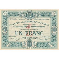 Evreux (Eure) - Pirot 57-20 - 1 franc- Chiffre 2 - 25/10/1921 - Etat : SPL+