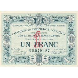 Evreux (Eure) - Pirot 57-26b - 1 franc- Chiffre 5 - 27/07/1922 - Etat : SUP+