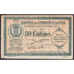 Foix - Pirot 59-5 variété - 50 centimes - 02/02/1915 - Etat : TB