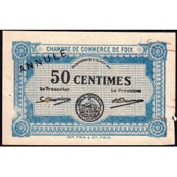 Foix - Pirot 59-02 - 50 centimes - Annulé - 1915 - Etat : TB+
