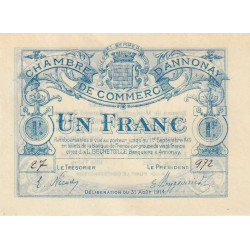 Annonay - Pirot 11-4 - 1 franc - 1914 - Etat : SPL+