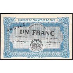 Foix - Pirot 59-4 - 1 franc - Annulé - 1915 - Etat : SUP+