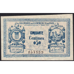 Foix - Pirot 59-13 variété - 50 centimes - 08/03/1920 - Etat : TTB