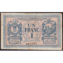 Foix - Pirot 59-15 - 1 franc - 08/03/1920 - Etat : TB