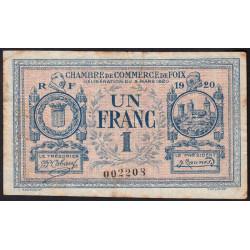 Foix - Pirot 59-15a - 1 franc - 1920 - Etat : TB