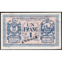 Foix - Pirot 59-16 - 1 franc - Annulé - 1920 - Etat : SUP+