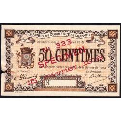 Granville - Pirot 60-3- 50 centimes - Spécimen - 1915 - Etat : TB+