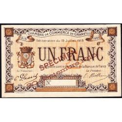 Granville - Pirot 60-05- 1 franc - Spécimen - 1915 - Etat : NEUF