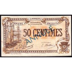 Granville - Pirot 60-8- 50 centimes - Annulé - 1916 - Etat : SUP+