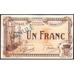 Granville - Pirot 60-10- 1 franc - 03/10/1916 - Annulé - Etat : SUP+