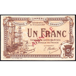Granville - Pirot 60-12- 1 franc - Annulé - 1917 - Etat : SUP