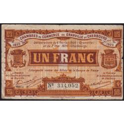 Granville / Cherbourg - Pirot 61-3 - 1 franc - Série A - 06/02/1920 - Etat : B+