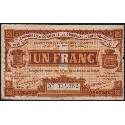 Granville / Cherbourg - Pirot 61-3-A - 1 franc - 1920 - Etat : B+