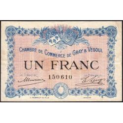 Gray / Vesoul - Pirot 62-3 - 1 franc - 1915 - Etat : TTB