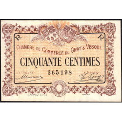 Gray / Vesoul - Pirot 62-7 - 50 centimes - 1915 - Etat : SUP+