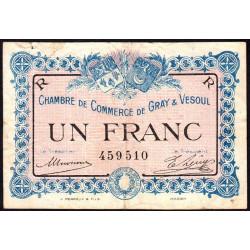 Gray / Vesoul - Pirot 62-9 - 1 franc - 1915 - Etat : B+