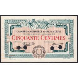 Gray / Vesoul - Pirot 62-12 - 50 centimes - Série ... - 1919 - Spécimen - Etat : SUP