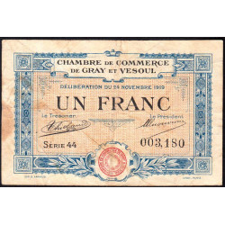 Gray / Vesoul - Pirot 62-13 - 1 franc - Série 44 - 1919 - Etat : B+