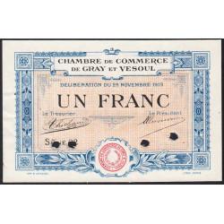 Gray / Vesoul - Pirot 62-14 - 1 franc - Spécimen - 1919 - Etat : SUP+