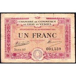 Gray / Vesoul - Pirot 62-17 - 1 franc - Série 57 - 1920 - Etat : B+