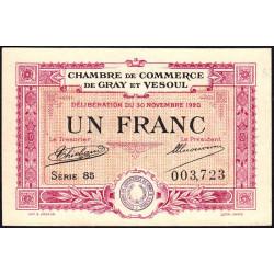 Gray / Vesoul - Pirot 62-17 - 1 franc - Série 85 - 1920 - Etat : pr.NEUF