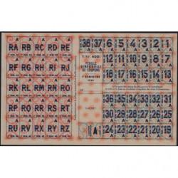 Rationnement - Feuille coupons - Catégorie A - Titre 4001 - 1948 - Etat : SUP+
