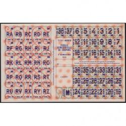 Rationnement - Feuille coupons M - 1948 - Etat : SUP+