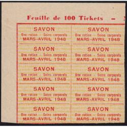 Rationnement - Savon - 1948 - Etat : SPL