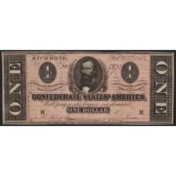 Etats Conf. d'Amérique - Pick 65c - 1 dollar - Lettre H - 17/02/1864 - Etat : pr.NEUF